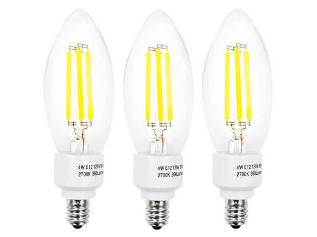 Set of 3 110V 4W E12 Clear LED Filament Bulbs - 2700K Warm White 40W Equivalent LED Filament Light Bulb - E12 Candelabra Base - ...