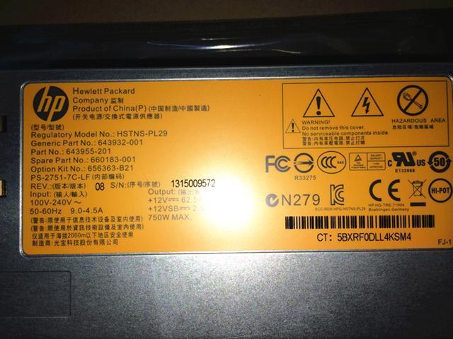 656363-B21 660183-001 643932-001 DPS-750RB A 750W CS PLATINUM PLUS HOT PLUG power supply