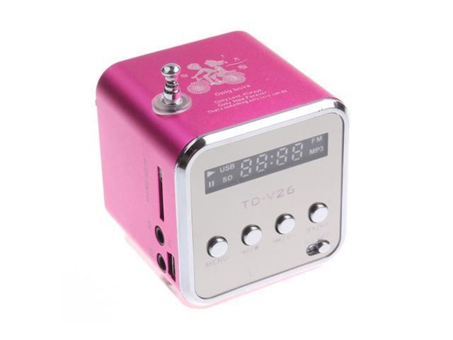 Mini USB Speaker Music Player FM Radio For Micro SD/TF PC iPod MP3 iPhone4 Magenta