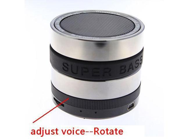 Mini Super BassMetal TFSlot Handfree Mic Stereo Portable Bluetooth Speaker black