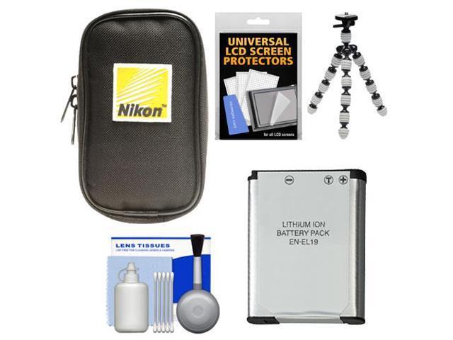 Nikon Coolpix Nylon Digital Camera Carrying Case with EN-EL19 Battery + Flex Tripod + Accessory Kit