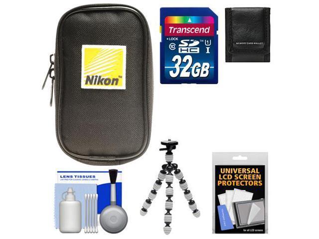 Nikon Coolpix Nylon Digital Camera Carrying Case with 32GB Card + Flex Tripod + Accessory Kit