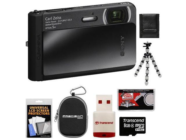 Sony Cyber-Shot DSC-TX30 Shock & Waterproof Digital Camera (Black) with 8GB Card + Case + Flex Tripod + Accessory Kit