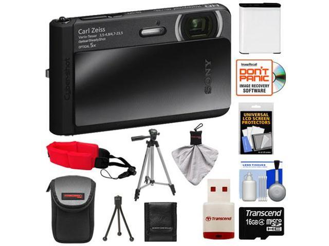 Sony Cyber-Shot DSC-TX30 Shock & Waterproof Digital Camera (Black) with 16GB Card + Battery + Case + Floating Strap + Tripod + Accessory Kit