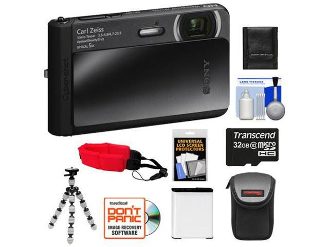 Sony Cyber-Shot DSC-TX30 Shock & Waterproof Digital Camera (Black) with 32GB Card + Battery + Case + Floating Strap + Flex Tripod + Accessory Kit ...
