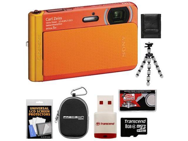 Sony Cyber-Shot DSC-TX30 Shock & Waterproof Digital Camera (Orange) with 8GB Card + Case + Flex Tripod + Accessory Kit