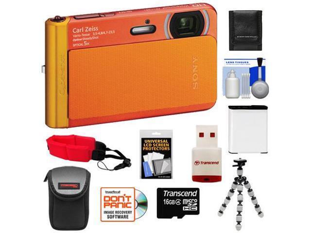 Sony Cyber-Shot DSC-TX30 Shock & Waterproof Digital Camera (Orange) with 16GB Card + Battery + Case + Floating Strap + Flex Tripod + Accessory ...