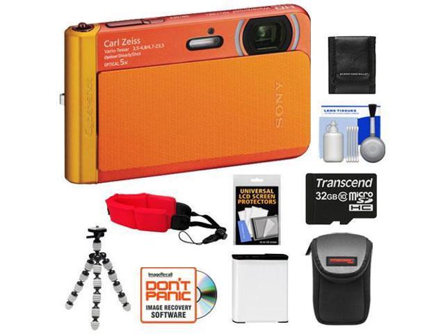 Sony Cyber-Shot DSC-TX30 Shock & Waterproof Digital Camera (Orange) with 32GB Card + Battery + Case + Floating Strap + Flex Tripod + Accessory ...
