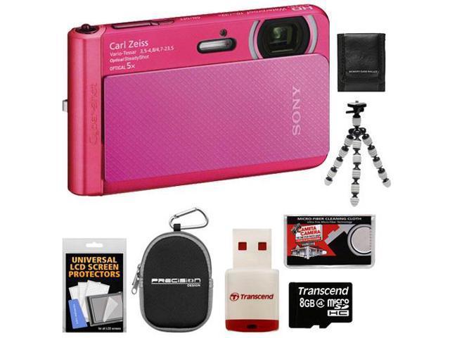 Sony Cyber-Shot DSC-TX30 Shock & Waterproof Digital Camera (Pink) with 8GB Card + Case + Flex Tripod + Accessory Kit