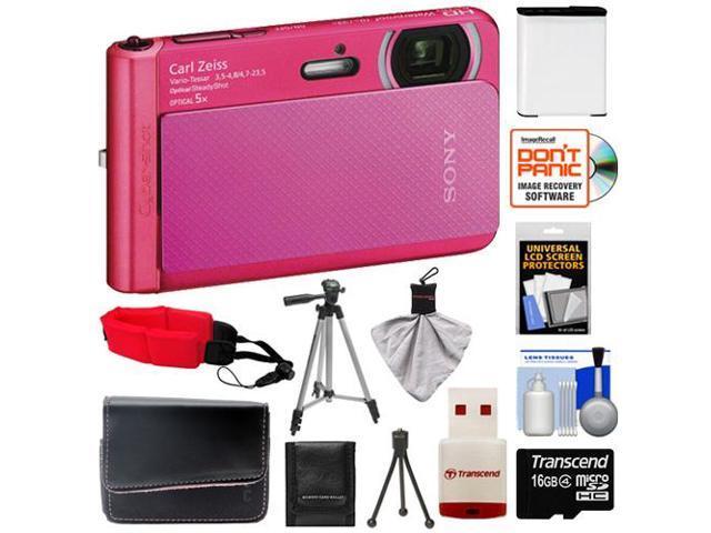 Sony Cyber-Shot DSC-TX30 Shock & Waterproof Digital Camera (Pink) with 16GB Card + Battery + Case + Floating Strap + Tripod + Accessory Kit