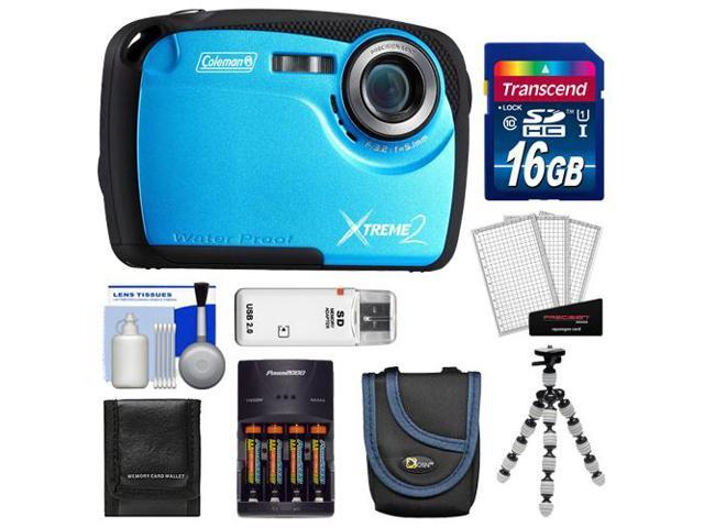 Coleman Xtreme2 C12WP Shock & Waterproof Digital Camera with HD Video (Blue) with 16GB Card + Case + Batteries & Charger + Flex Tripod + ...