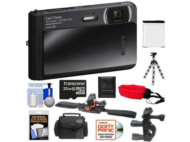 Sony Cyber-Shot DSC-TX30 Shock & Waterproof Digital Camera (Black) with 32GB Card + Helmet & Handlebar Mounts + Battery + Case + Flex Tripod + ...