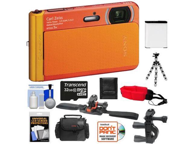 Sony Cyber-Shot DSC-TX30 Shock & Waterproof Digital Camera (Orange) with 32GB Card + Helmet & Handlebar Mounts + Battery + Case + Flex Tripod + ...
