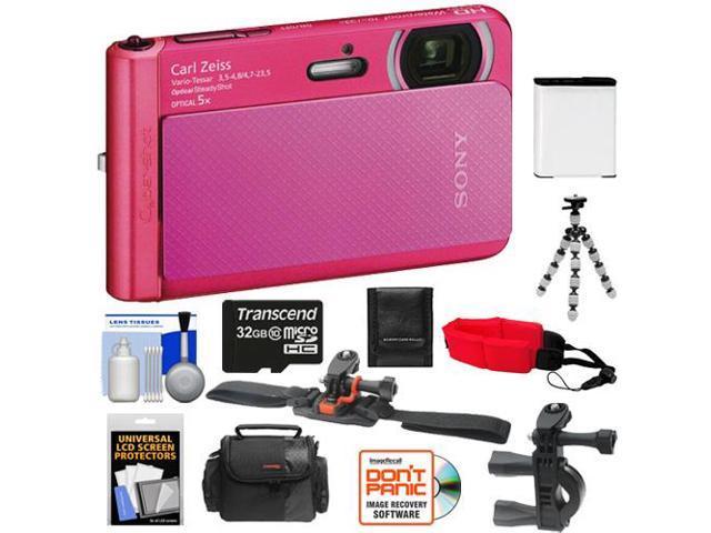 Sony Cyber-Shot DSC-TX30 Shock & Waterproof Digital Camera (Pink) with 32GB Card + Helmet & Handlebar Mounts + Battery + Case + Flex Tripod + ...