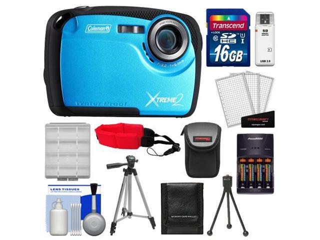 Coleman Xtreme2 C12WP Shock & Waterproof Digital Camera with HD Video (Blue) with 16GB Card + Case + Batteries & Charger + 2 Tripods + ...