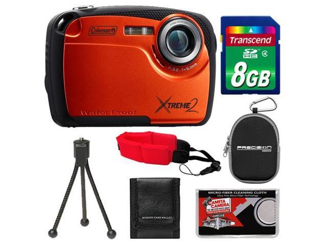 Coleman Xtreme2 C12WP Shock & Waterproof Digital Camera with HD Video (Orange) with 8GB Card + Case + Tripod + Accessory Kit