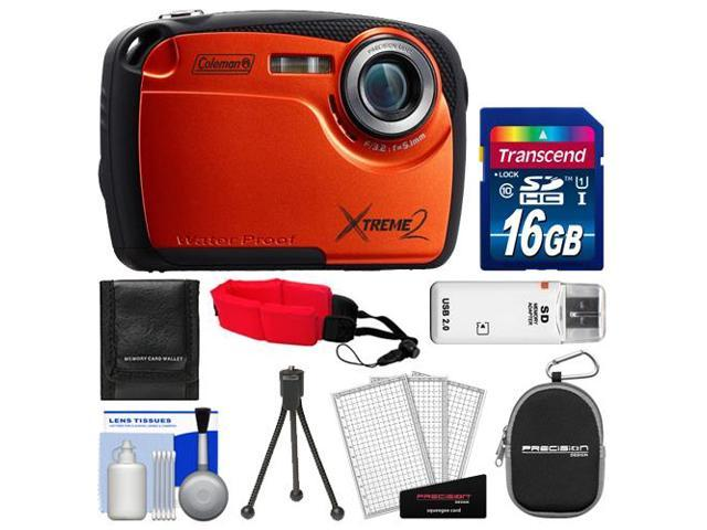 Coleman Xtreme2 C12WP Shock & Waterproof Digital Camera with HD Video (Orange) with 16GB Card + Case + Tripod + Accessory Kit