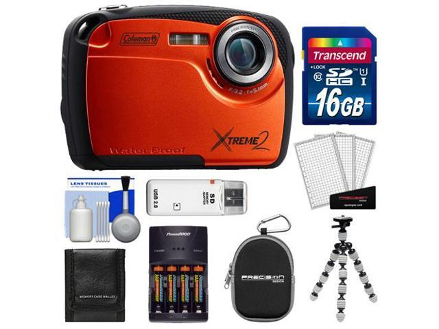 Coleman Xtreme2 C12WP Shock & Waterproof Digital Camera with HD Video (Orange) with 16GB Card + Case + Batteries & Charger + Flex Tripod + ...