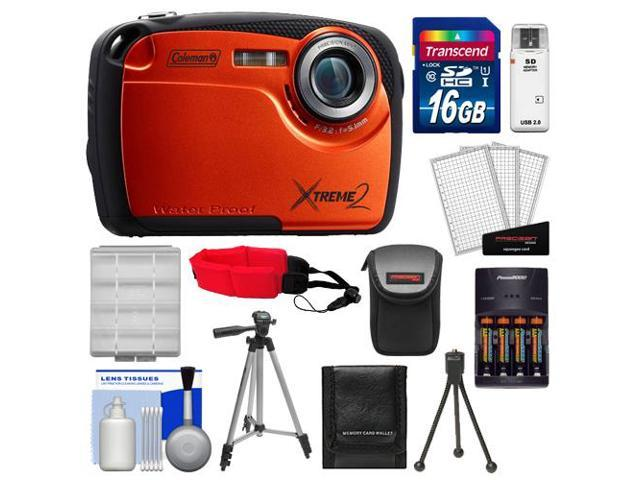 Coleman Xtreme2 C12WP Shock & Waterproof Digital Camera with HD Video (Orange) with 16GB Card + Case + Batteries & Charger + 2 Tripods + ...