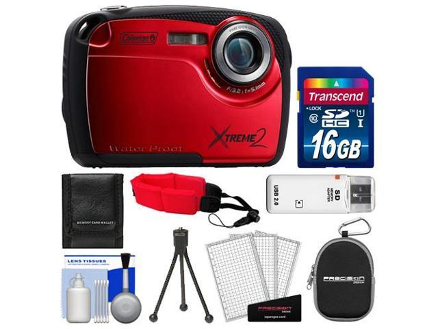 Coleman Xtreme2 C12WP Shock & Waterproof Digital Camera with HD Video (Red) with 16GB Card + Case + Tripod + Accessory Kit