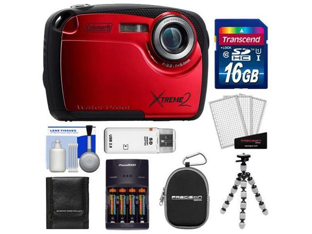 Coleman Xtreme2 C12WP Shock & Waterproof Digital Camera with HD Video (Red) with 16GB Card + Case + Batteries & Charger + Flex Tripod + ...