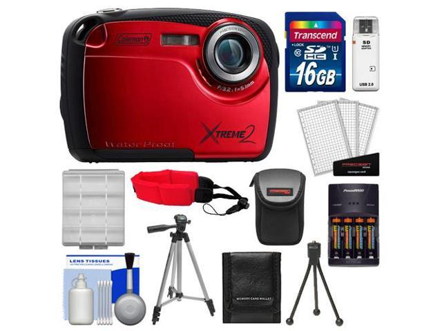 Coleman Xtreme2 C12WP Shock & Waterproof Digital Camera with HD Video (Red) with 16GB Card + Case + Batteries & Charger + 2 Tripods + ...