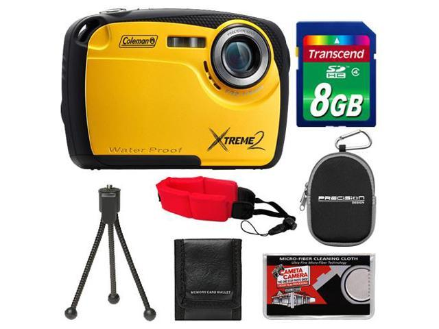 Coleman Xtreme2 C12WP Shock & Waterproof Digital Camera with HD Video (Yellow) with 8GB Card + Case + Tripod + Accessory Kit