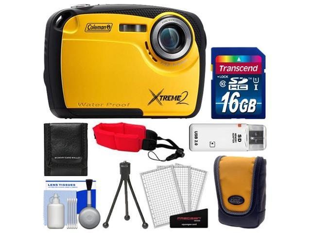 Coleman Xtreme2 C12WP Shock & Waterproof Digital Camera with HD Video (Yellow) with 16GB Card + Case + Tripod + Accessory Kit