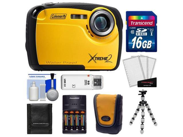 Coleman Xtreme2 C12WP Shock & Waterproof Digital Camera with HD Video (Yellow) with 16GB Card + Case + Batteries & Charger + Flex Tripod + ...