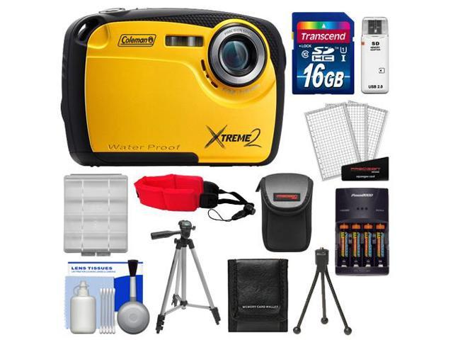 Coleman Xtreme2 C12WP Shock & Waterproof Digital Camera with HD Video (Yellow) with 16GB Card + Case + Batteries & Charger + 2 Tripods + ...