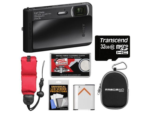 Sony Cyber-Shot DSC-TX30 Shock & Waterproof Digital Camera (Black) with 32GB Card + Battery + Case + Floating Strap + Accessory Kit