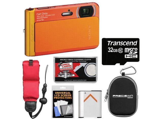 Sony Cyber-Shot DSC-TX30 Shock & Waterproof Digital Camera (Orange) with 32GB Card + Battery + Case + Floating Strap + Accessory Kit