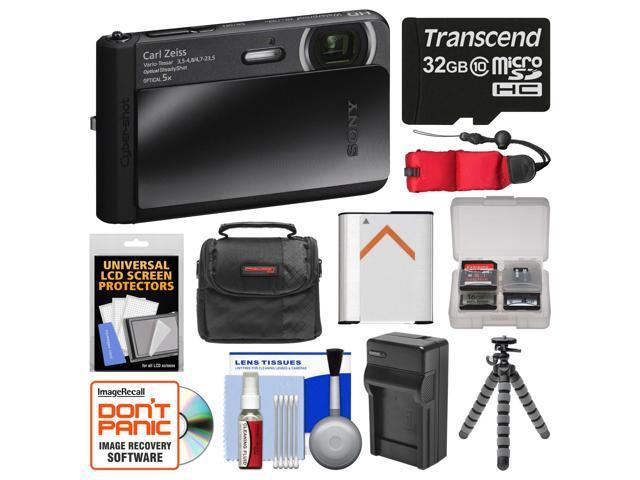 Sony Cyber-Shot DSC-TX30 Shock & Waterproof Digital Camera (Black) with 32GB Card + Case + Floating Strap + Battery & Charger + Flex Tripod + ...