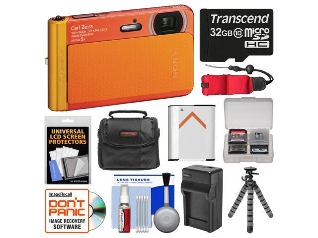 Sony Cyber-Shot DSC-TX30 Shock & Waterproof Digital Camera (Orange) with 32GB Card + Case + Floating Strap + Battery & Charger + Flex Tripod + ...