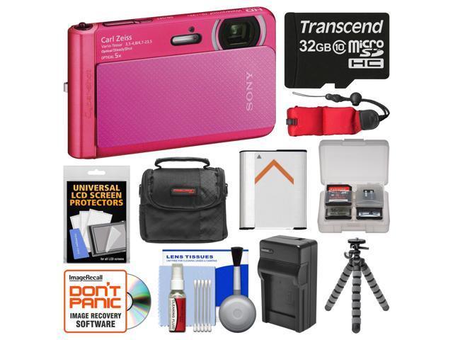 Sony Cyber-Shot DSC-TX30 Shock & Waterproof Digital Camera (Pink) with 32GB Card + Case + Floating Strap + Battery & Charger + Flex Tripod + ...