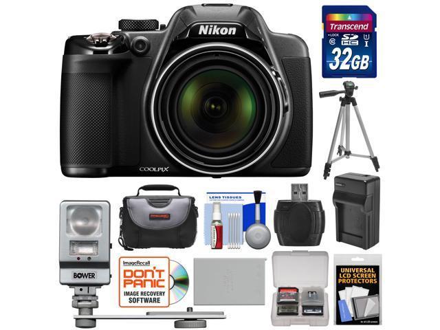 Nikon Coolpix P530 Digital Camera (Black) with 32GB Card + Battery & Charger + Case + Tripod + Flash/LED Light + Kit