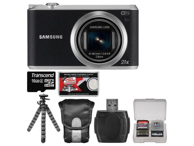 Samsung WB350 Smart Wi-Fi Digital Camera (Black) with 16GB Card + Case + Flex Tripod + Accessory Kit
