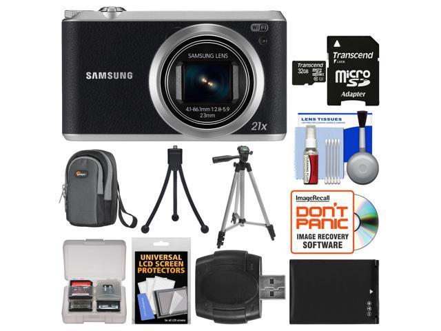 Samsung WB350 Smart Wi-Fi Digital Camera (Black) with 32GB Card + Case + Battery + Tripod Kit