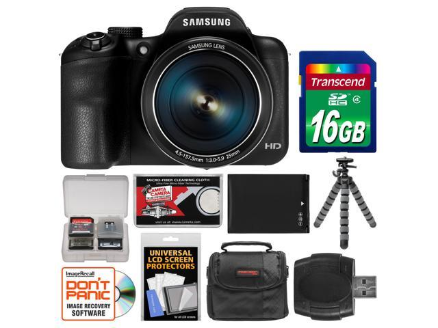 Samsung WB1100F Smart Wi-Fi Digital Camera (Black) with 16GB Card + Case + Battery + Flex Tripod + Accessory Kit