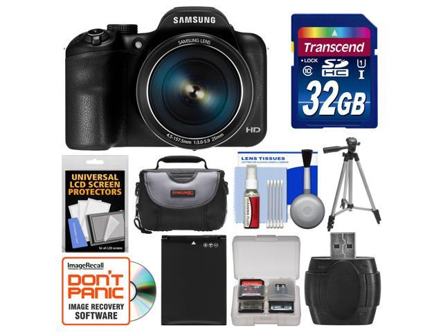 Samsung WB1100F Smart Wi-Fi Digital Camera (Black) with 32GB Card + Case + Battery + Tripod + Accessory Kit