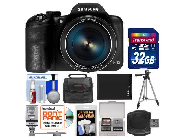 Samsung WB1100F Smart Wi-Fi Digital Camera (Black) with 32GB Card + Case + Flash + Battery + Tripod + Accessory Kit