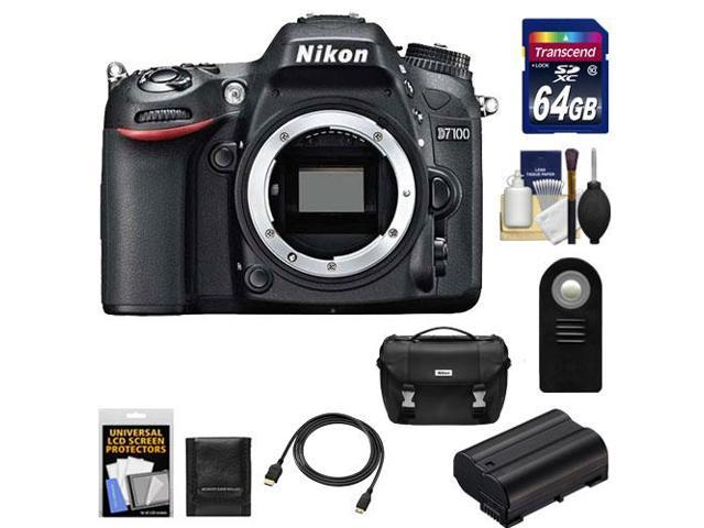 Nikon D7100 Digital SLR Camera Body with 64GB Card + Battery + Case + Remote + HDMI Cable + Accessory Kit
