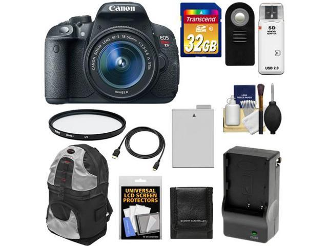 Canon EOS Rebel T5i Digital SLR Camera & EF-S 18-55mm IS STM Lens with 32GB Card + Battery & Charger + Backpack + Filter + ...