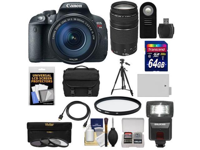 Canon EOS Rebel T5i Digital SLR Camera & EF-S 18-135mm IS STM Lens with EF 75-300mm III Lens + 64GB Card + Battery + Case ...
