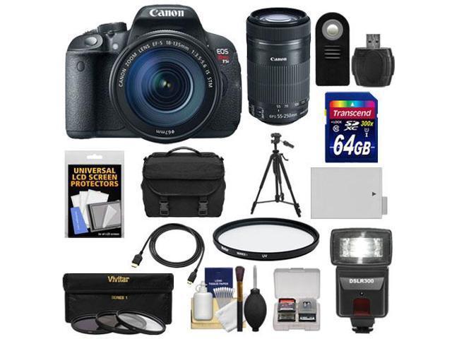 Canon EOS Rebel T5i Digital SLR Camera & EF-S 18-135mm IS STM Lens with EF-S 55-250mm IS STM Lens + 64GB Card + Battery + ...