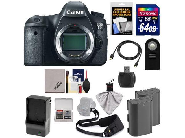 Canon EOS 6D Digital SLR Camera Body with 64GB Card + 2 Batteries & Charger + Sling Strap + HDMI Cable + Remote + Accessory ...
