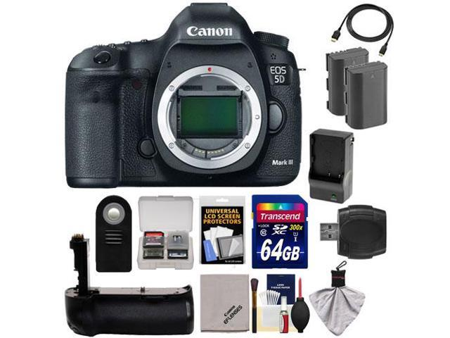 Canon EOS 5D Mark III Digital SLR Camera Body with 64GB Card + 2 Batteries & Charger + Grip + HDMI Cable + Accessory Kit ...