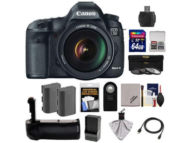 Canon EOS 5D Mark III Digital SLR Camera with EF 24-105mm L IS USM Lens with 64GB Card + 2 Batteries & Charger + Grip ...