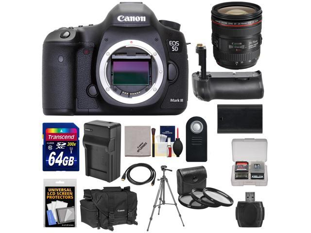 Canon EOS 5D Mark III Digital SLR Camera with EF 24-70mm f/4.0L IS USM Lens & 64GB Card + Grip + Battery & Charger + ...