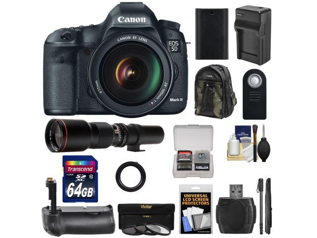 Canon EOS 5D Mark III Digital SLR Camera with EF 24-105mm L IS USM Lens with 500mm Telephoto Lens + 64GB Card + Grip + ...